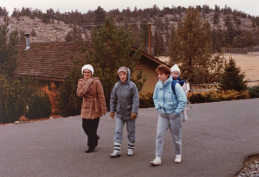 "The ""Mom's"" on a walk: Sugar, Baba, Joan, and Ryan."