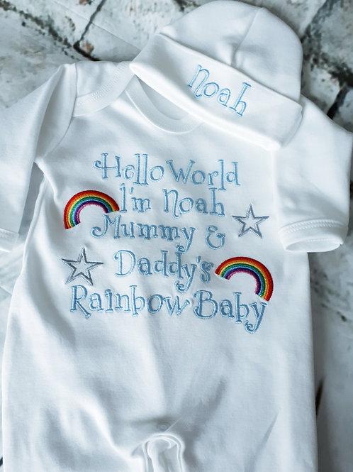 RAINBOW BABY SLEEPSUIT VEST HAT