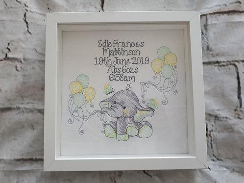 ELLIE WITH BALLOONS AND BIRTH DETAILS BOX FRAME