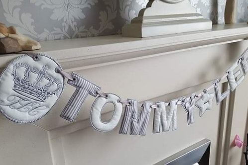 CROWN AND INITIALS NAME BUNTING