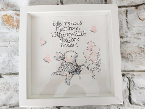 BALLERINA BUNNY & BALLOONS BOX FRAME WITH BIRTH DETAILS