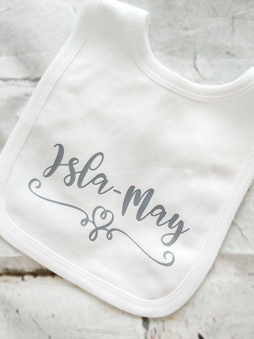NAME AND HEART FLOURISH BIB VEST SLEEPSUIT