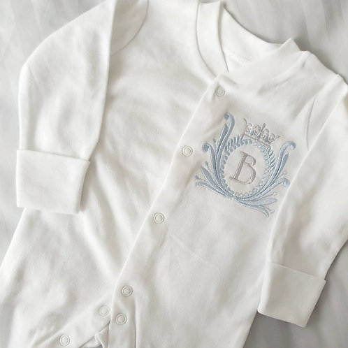 MONOGRAM AND CROWN SLEEPSUIT