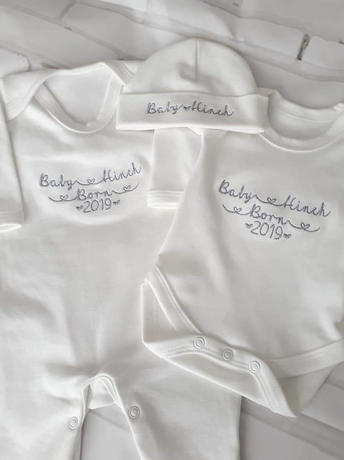 BABY BORN SETS PERSONALISED SLEEPSUIT VEST HAT
