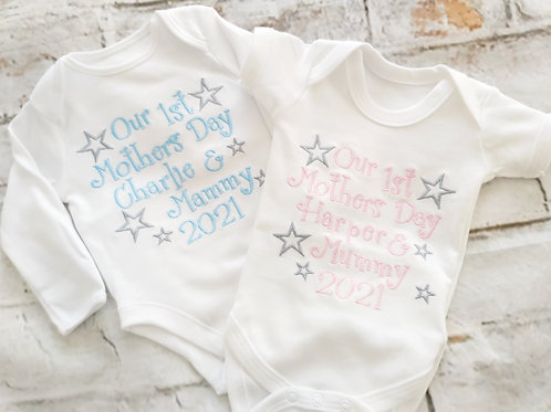 1ST MOTHERS DAY VEST LONG/SHORT SLEEVES OR SLEEPSUIT