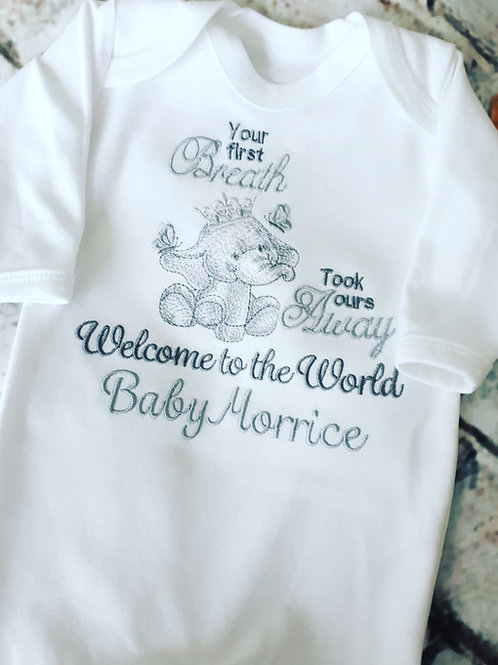 ELEPHANT YOUR 1ST BREATH TOOK OURS AWAY SLEEPSUIT VEST