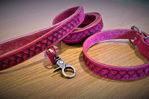 Collar and lead set,hand tooled love hearts