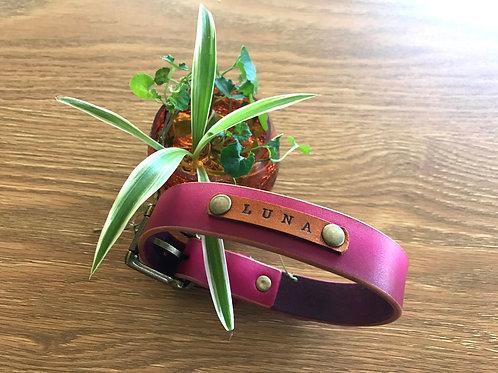 Custom colour pet collar, personalised and handmade
