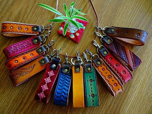 Custom design  leather loop keyring, flat ring