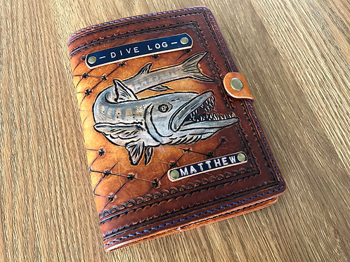 Leather journal cover, hand painted journal, personalised diary cover, BARRACUDA