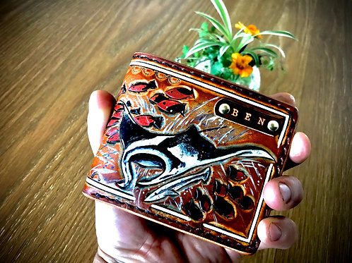 Personalised, Hand tooled leather wallet, MANTA RAY