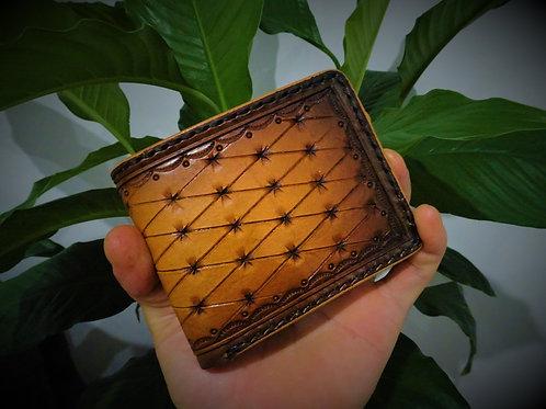 Custom design hand tooled bi-fold wallet