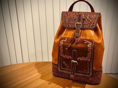 Full leather backpack, tooled leather rucksack, made to order customised, person