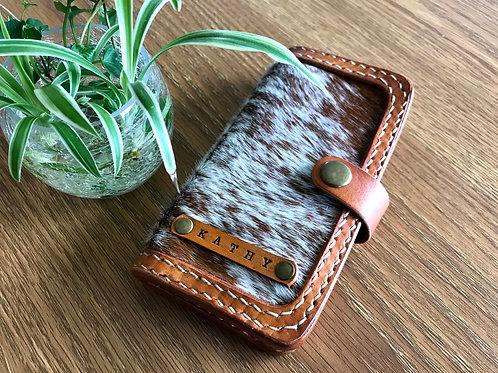 Hair on hide phone wallet, Handmade Universal phone case