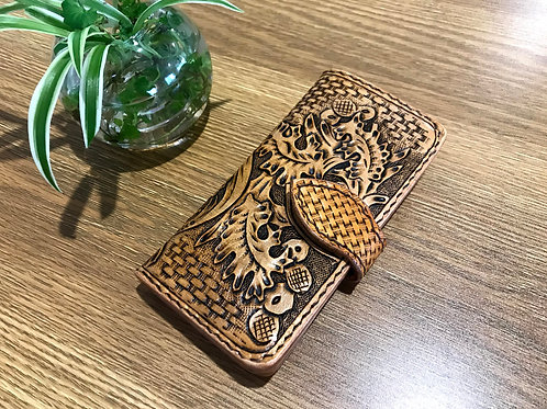 Personalised Hand tooled smart phone case, UNIVERSAL FIT, Sheridan design
