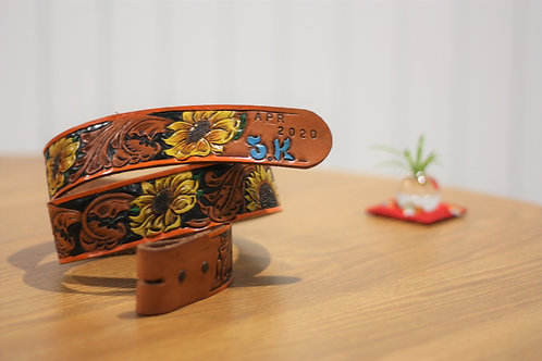 Hand carved Unisex belt, Sunflower and Initials