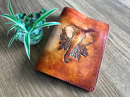 Leather book cover, journal cover, ELEPHANT