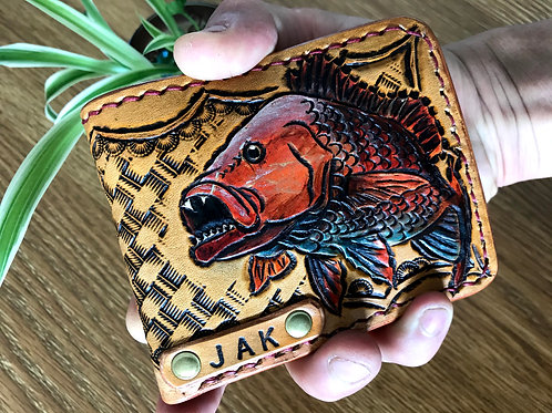 Personalised, Hand tooled leather wallet, MANGROVE JACK