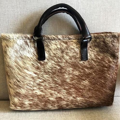Hair on hide Handbag, all handmade with goat in-liner