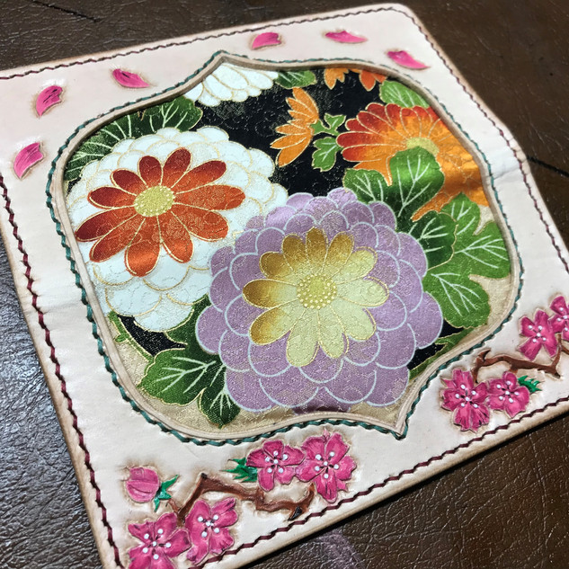 Kimono lined leather purse
