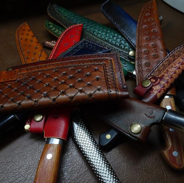 apanese saya, leather sheath, custom made sheath
