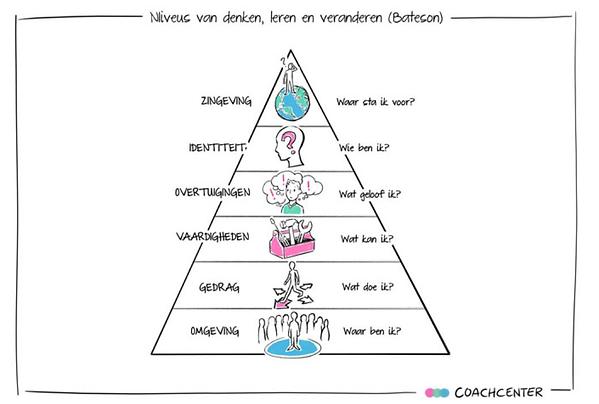Figuur 1. Niveaus van denken, leren en veranderen (Vrijland, 2014)