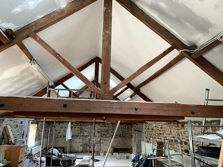 Wooden beams at the Dog and Spoon Distillery