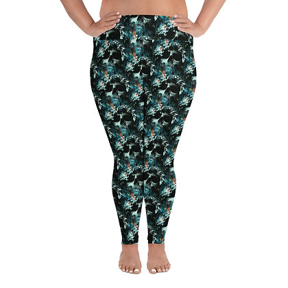 All-Over Print Plus Size Leggings Water Skull