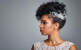 Model wearing a bridal headpiece