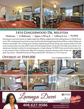 JUST LISTED 1414 GINGERWOOD DR MILPITAS