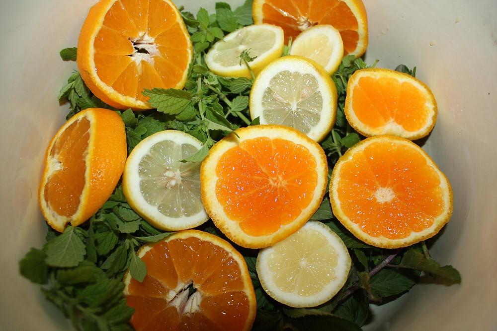 Kräuter mit Zitrusfrüchten in einen Topf geben