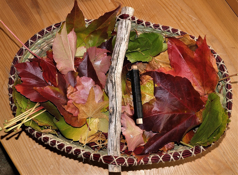 Die Materialiste ist kurz - ein Draht und viele bunte Blätter