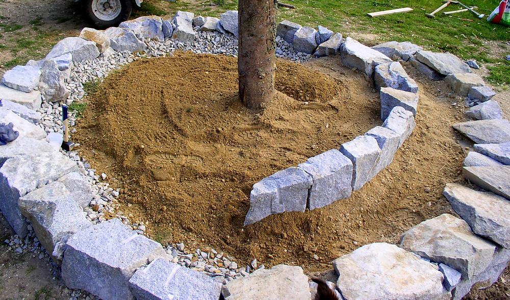 Die gesamte erste Reihe, wo Sand aufgetragen wurde