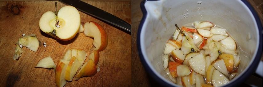 Die Äpfel mit allem drum und dran köcheln