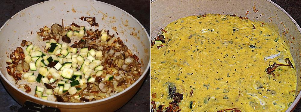 li: angeröstete Zwiebel, Pilze und Gemüse - re: die Eiermasse in die Pfanne geben
