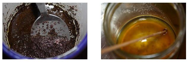 Kaffee vermischt mit dem Öl - Zugabe von Bienenwachs