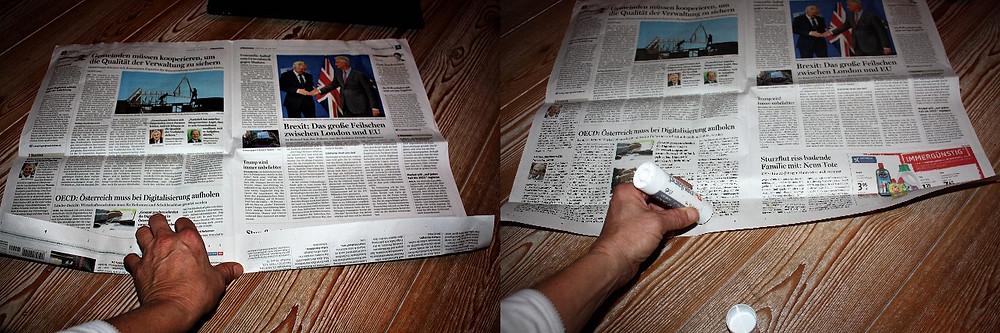 Zeitung einschlagen und festkleben