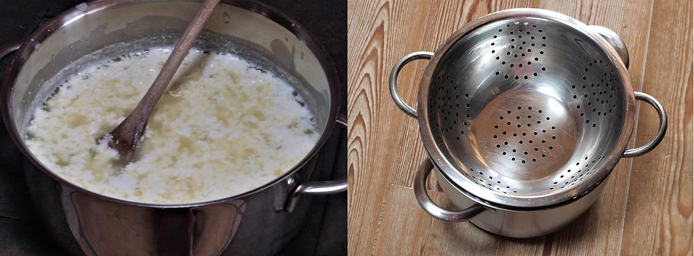 Die Milch stockt und trennt sich von der Molke