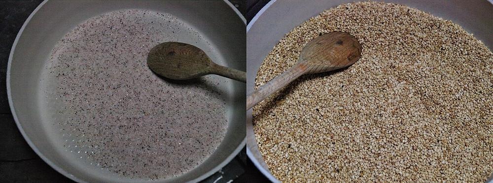 Links, das geröstete Salz, rechts, der geröstete Sesam
