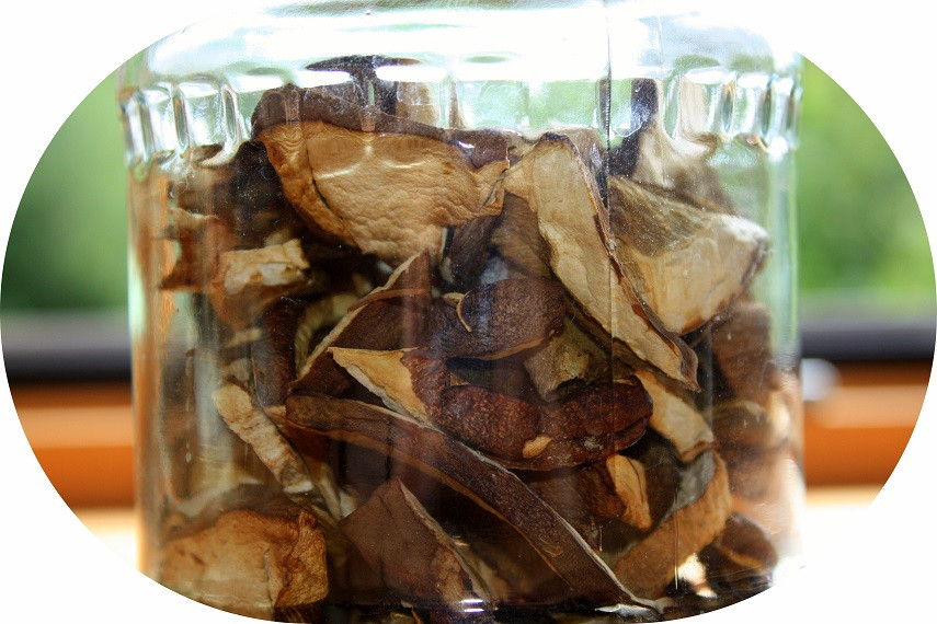 Die getrockneten Pilze gebe ich in ein Glas