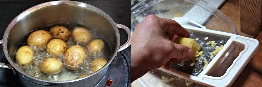Eine Hälfte wird gekocht, die andere ungekocht gerieben
