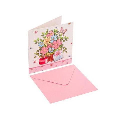Kartolinë 3D Rozë 15X15 cm
