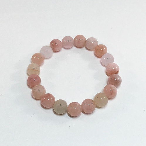 Morganite 10mm Round Beads Bracelet