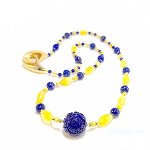 Amber Lapis Necklace