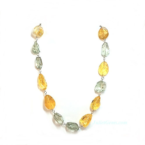 Green Amethyst Citrine Necklace