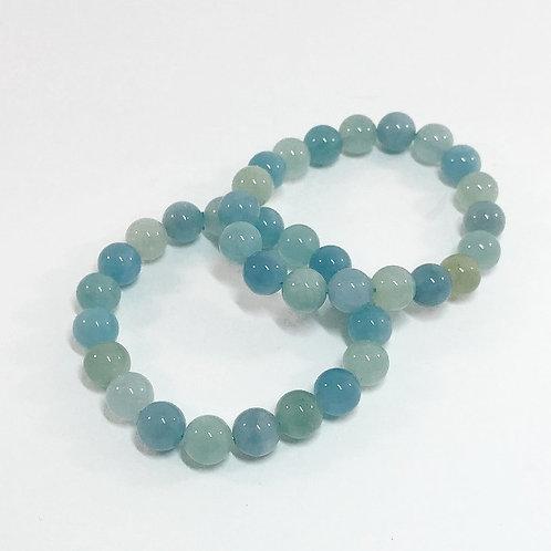 Aquamarine 10mm Round Bracelet