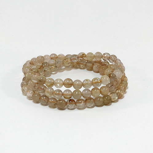 Rutilated Quartz 3 rolls Bracelet