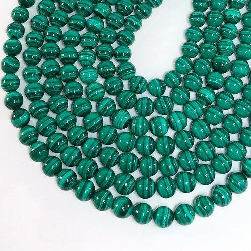 Malachite 10mm Round Beads 2A