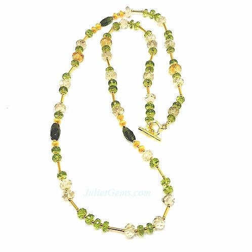 Green Tourmaline & Peridot Silver Necklace