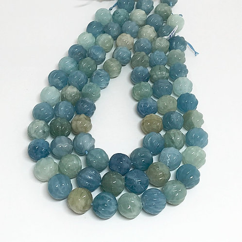 Aquamarine Carved Melon 16mm